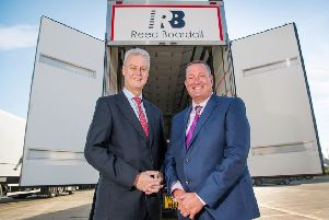Andrew Brown (left) of Gray & Adams, and Graeme Richardson of Reed Boardall with one of the company's new trailers.