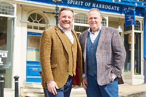L-R: Owners of the Spirit of Harrogate and the Slingsby range, Marcus Black and Mike Carthy outside the shop on Montpellier Parade.