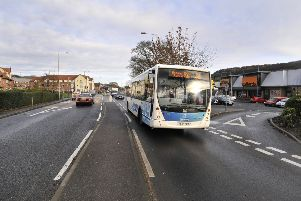 Seamer road bus stop near opposite the retail park causes problems with the single lane stopping point . pic Richard Ponter 175145a