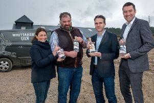 Jane and Toby Whittaker (left) of Nidderdale-based Whittaker's Gin celebrate signing the export deal. (S)