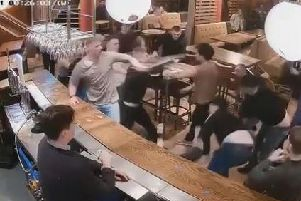Chairs were thrown during the brawl in Arc bar.