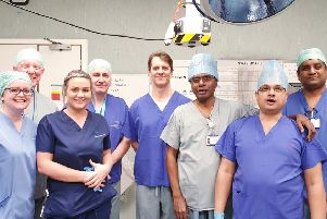 Prof Viswanath YKS (third right) and Dr Anjan Dhar (second right) with the team at James Cook University Hospital.
