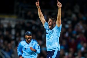 Tim Bresnan celebrates one of the six wickets he took against Lancashire. (Picture: SWPix.com)
