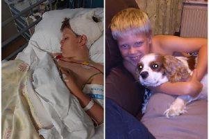 Leo pictured on the left in hospital following his operation. The right picture shows him with dog Ruby when he's 10