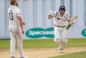 Adam Lyth celebrates his ton. Picture by John Heald.