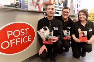 Helredale's McColls store has a Post Office in the store. Ready to serve Manager Michael Purvis,staff James Mills and Nikki Ward.pic Richard Ponter