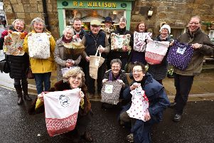 Willison's Fruit and Veg in Whitby launches the all new eco friendly Boomerang bags..Front Jane Pottas,Carole Sinclair and Sandra Turner with fellow supporters. pic Richard Ponter