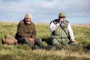 John Dent (left), Rosedale resident who has benefited from employment through grouse shooting and Pete Richardson (right), employed estate farmer who is always out on a shoot day.