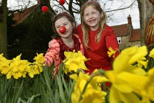 Lythe school red nose day ..Holly and Harriet in the daffodils.pic Richard Ponter