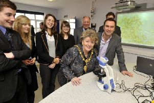 Hazel Lynskey pictured in 2011 when she was Mayor for the first time; here at the opening of a new Scarborough College science laboratory. 'Writer: