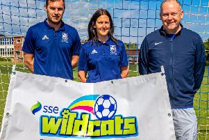 SBC's Matt Hewison, right, with Mr McGovern and Mrs Scales of Eskdale School