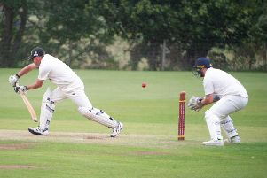 A delivery whizzes past the outside edge of Staxton batsman Paul Virrs bat during their game against Mulgrave. PICTURES BY ANDY STANDING