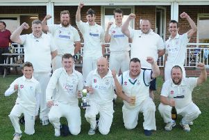 Bridlington 2nds celebrate winning the Division One title thanks to a victory against Folkton & Flixton 2nds in their final game of the season. Picture by Dom Taylor.