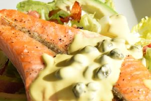 Salmon with Avocado and a Caper Hollandaise sauce, serves 2