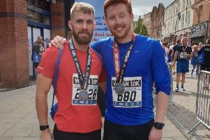 Andrew Fleming(left) with his nutritionist Sam McKenzie after the Wigan10k run in September.