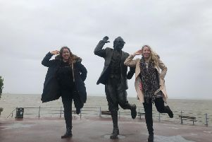 Saying hi to Eric Morecambe befopre our rainy outside broadcast