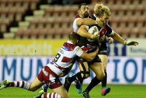 Logan Tomkins facing Wigan last week
