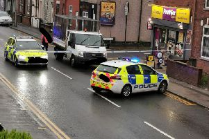 Police seal off Atherton Road, Hindley, after the early morning crash