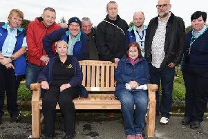 The unveiling of the memorial bench to John Mitchinson at Wigan Wallgate station, following a fund-raising effort by his former colleagues in the rail industry and in the RMT union