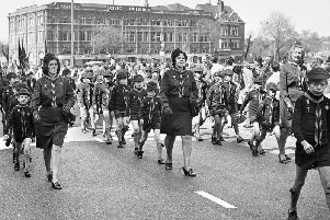 Cub scouts stride up Market Street during the annual St George's Day parade on Sunday 29th of April 1973