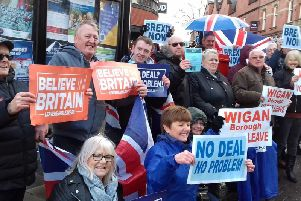 A previous Wigan town centre rally in favour of Brexit