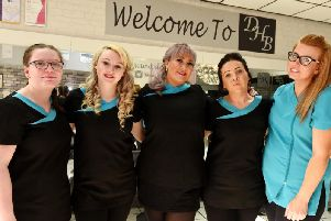 (From left) Alexia Willows, Chloe Leather, Dawn Brady, Angela Palmer, and Becky Leah at Dawn's Hair and Beauty Boutique.
