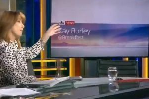 Kay Burley sits next to an empty chair where Tory chairman James Cleverly should have been sitting