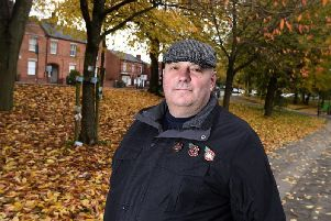 Billy Baldwin on the former site of the old Drill Hall, off Powell Street and Standishgate, Wigan, where Wigans WW1 soldiers will be remembered in a short service before the Remembrance Sunday service in Wigan