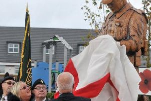 Philip Wilkinson and Jackie Law unveil the new Alfred Wilkinson VC statue