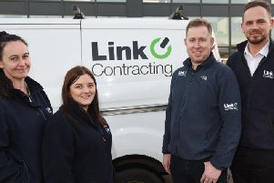 (From left) Taryn Banner, Kelly Cassidy, Barry Thompson, and Domonic Roberts at Link Contracting