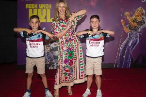 Kylie Minogue with brothers James and Jack at the Dubai Sevens event. Photo by Joining Jack