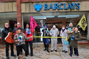 An Extinction Rebellion protest outside Barclays in Wigan town centre in 2019