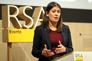 Labour leadership candidate Lisa Nandy at RSA House, London, delivering a speech on the UK's place in a post-Brexit world