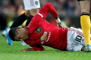 Rashford suffered his injury in the FA Cup win against Wolves