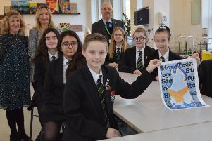 Pupils with their artwork