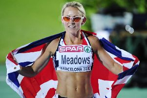 Great Britain's Jenny Meadows after winning a Bronze Medal in the Women's 800m at the European Championships in 2010