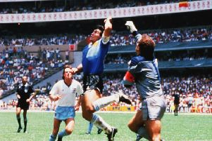 Diego Maradona scoring the 'Hand of God' goal -  Photo By Rex Features