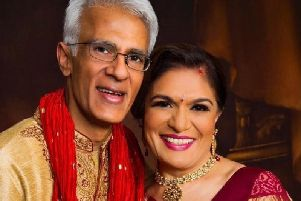 Suresh Vaghela and wife Rekha, pictured hosting their god daughters wedding