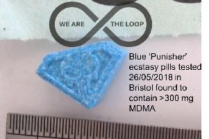 Organisers of the festival arewarning attendees that the triangular blue pills are known to contain more than 330mg of MDMA - a potentially fatal dose. PIC: The Loop