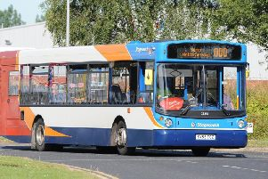 A Stagecoach bus similar to the one used to run the 113 service from Wigan through Heskin, Eccleston, Croston, and Leyland before arriving in Preston