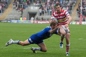 Greg McNally in action for Leigh Centurions