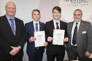 Tom Bailey and Nathan Willis receiving their Arkwright Scholarship Awards, alongside Mr Bailey who organises the scholarships.