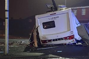 The wreckage of the caravan at the Beech Hill Avenue/Gidlow Lane junction