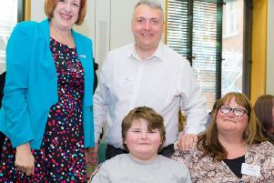 RCSLT Voice Box 2019 finalist Aidan Palmer with (left to right) Yvonne Fovargue MP and his parents Stuart and Helen Palmer.