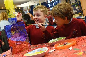 Pupils made colourful art and instruments with recyclable materials.'Students in the Eco Council have been gardening.