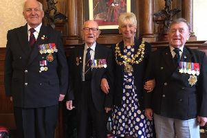 Eric Radcliffe from Leigh, Ted Houghton from Winstanley, the Mayor  Coun Sue Greensmith and Harry Cullen from Wigan