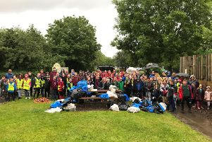 The army of volunteers with the sackloads of rubbish collected