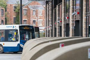 A bus pulling into the station in Wigan