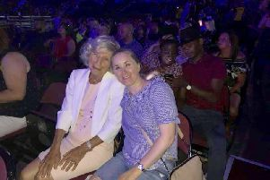 Jean O'Brien and Katy Grindley at the Westlife concert
