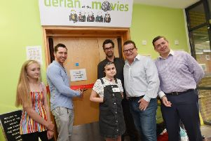 Wigan actor Ben Batt, officially opens the new family cinema facility, Derian at the Movies, at Derian House, Chorley, from left, Francesca, actor Ben Batt, Amelie, Stephen Nevison from Intuitive Homes, Ian Morrish from Together For Cinema and David Robinson CEO of Derian House